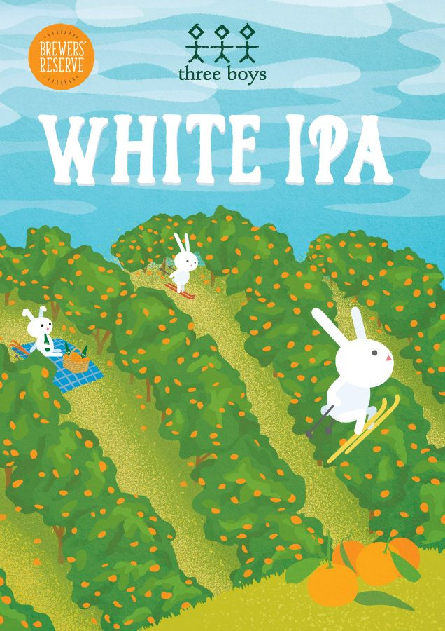 Three Boys Brewers' Reserve White IPA is packed full of mandarins and is as hoppy as three bunnies grass skiing.