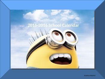 $ 2015-2016 Editable Minion School Calendar