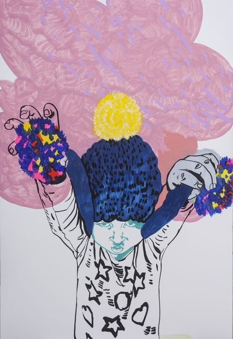 Agnieszka Sandomierz, no title, marker on cardboard, figurative art, portrait, boy, children, pink, blue, modern art, modern portrait, polish art
