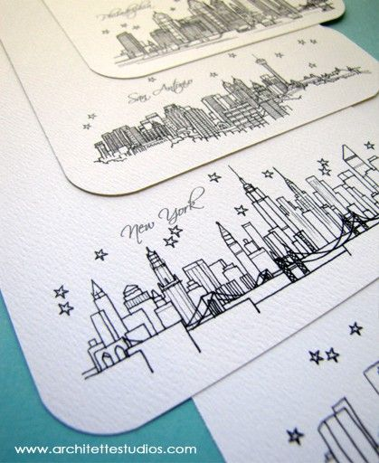 City skyline cards for table numbers representing the cities that have meant a lot to Steve and me in our relationship...