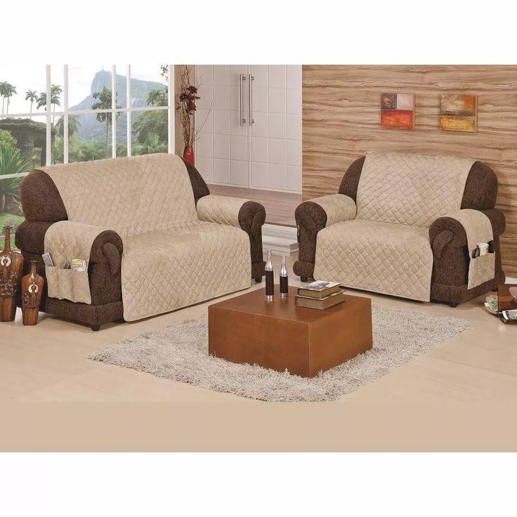 protetor de sofá avelã 2 e 3 lugares c/ bolsos laterais