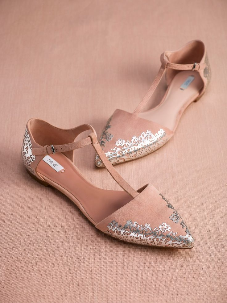 If you're opting for a flat shoe for an upcoming wedding, consider a pink and silver combo to still make a statement!