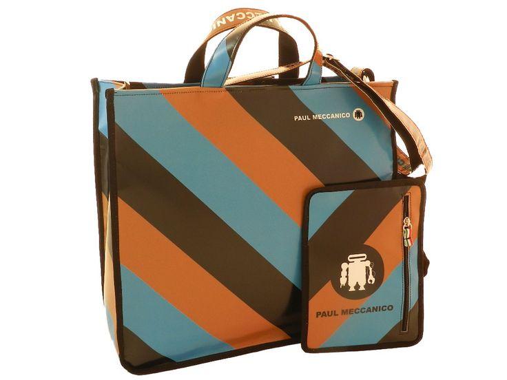Borsa donna Paul Meccanico con borsellino utilizzabile anche a mò di portafogli. Colori marrone e avio fantasia anni 60 a righe.