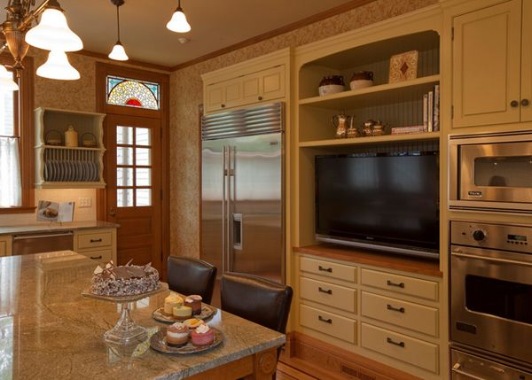 20 Awesome Flat Screen Tv Furniture In The Kitchen Home Design Lover Traditional Kitchen Design Tv In Kitchen Victorian Kitchen