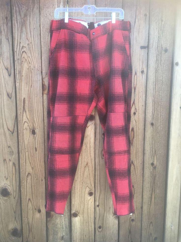 Mens 38 Vintage Wool Plaid Hunting Pants Red Lumberjack Hunting Pants    eBay