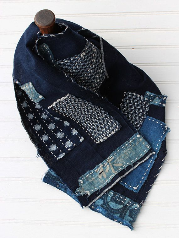 Boro scarf made from vintage Japanese aizome indigo cotton with sashiko stitching and katazome patches