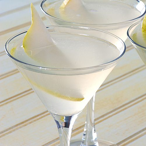 pear cosmo - pear flavored vodka, triple sec, fresh lime, white cranberry juice