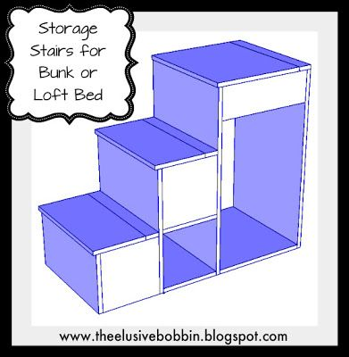 Free Storage Stair Plans for Bunk or Loft  Bed (I think these are the same as the one I pinned from Anna White)