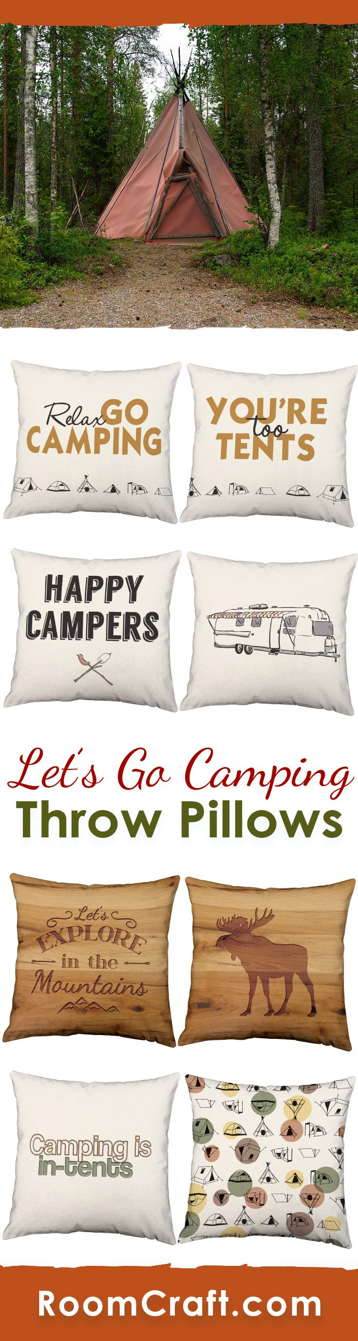 There is just something about a campfire... Share your love for the outdoors with these fun camping throw pillows. Each design is offered in multiple colors, sizes and fabrics making them perfect for your home, cabin or camper. Our quality outdoor pillow covers are made to order in the USA and feature 3 wooden buttons on the back for closure. Choose your favorite and create a truly unique pillow set. #roomcraft