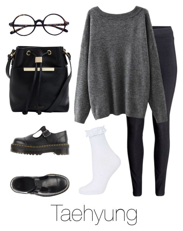 """""""Airport Fashion: Taehyung"""" by btsoutfits ❤ liked on Polyvore featuring H&M, Dr. Martens, Ted Baker and Topshop"""