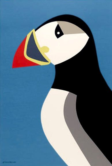 Tom Eckersley — Birds of the World Series, Puffin (1986)