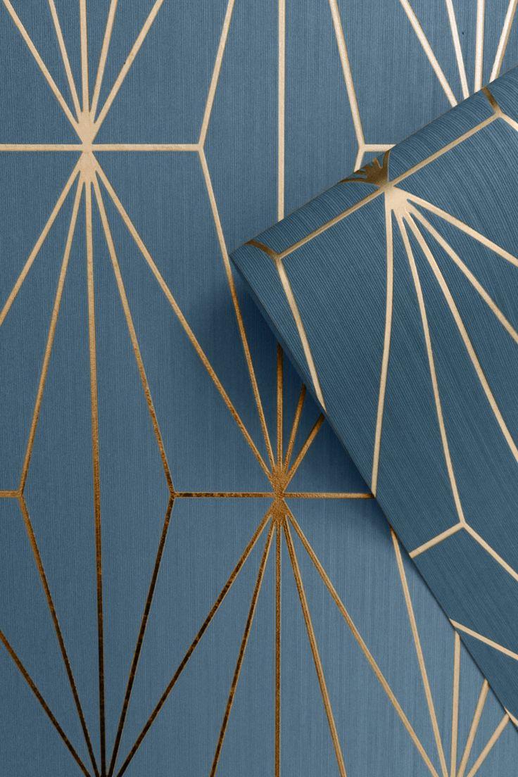 Kayla Metallic Geometric Wallpaper Blue / Bronze in 2020
