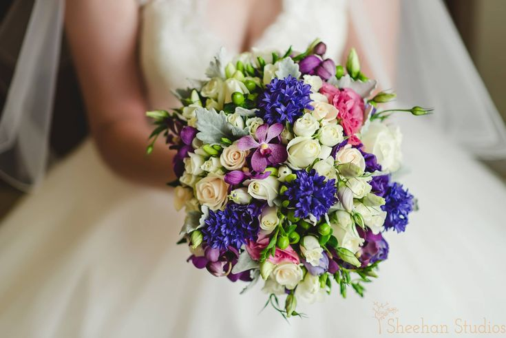Blue, white, purple, green and pink bouquet.