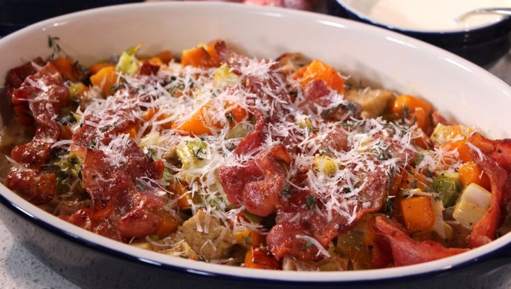 Butternut squash casserole with leeks, bacon and thyme