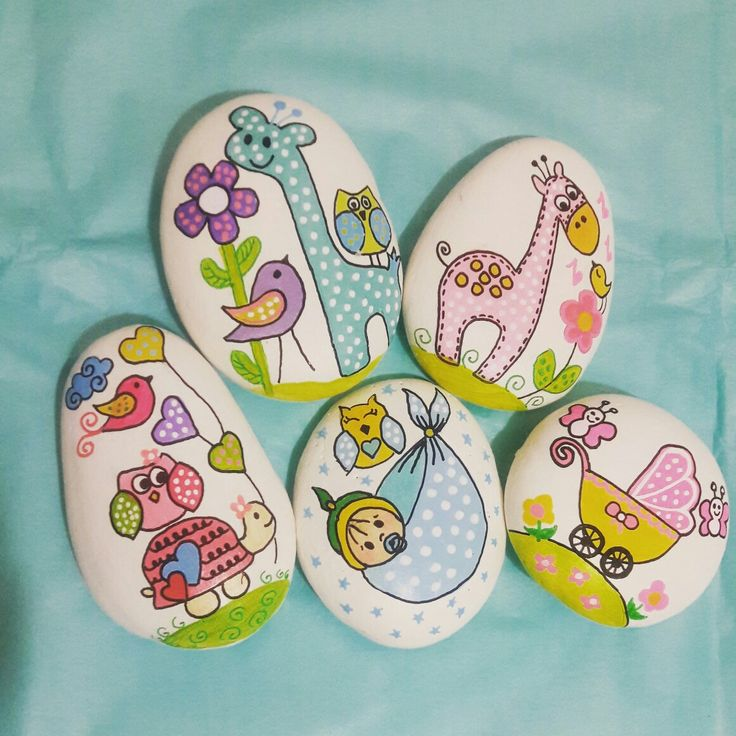 Baby shower paint stone