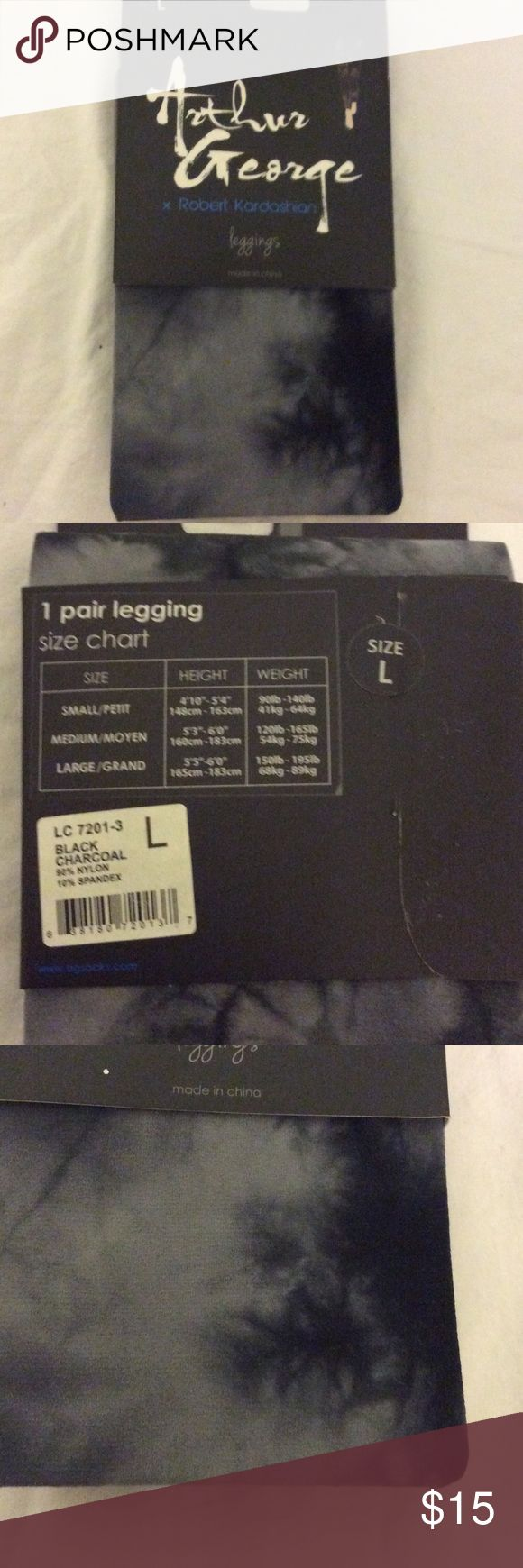 Arthur George Robert Kardashian Leggings Size large leggings.  New unopened package.  Nylon and spandex fabric.  Color is listed as charcoal. Arthur George Robert Kardashian Pants Leggings