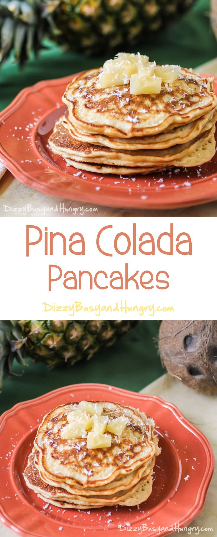 Pina Colada Pancakes #SundaySupper  Fluffy, melt-in-your-mouth pineapple pancakes drizzled with a deliciously sweet coconut syrup! http://www.dizzybusyandhungry.com/pina-colada-pancakes/