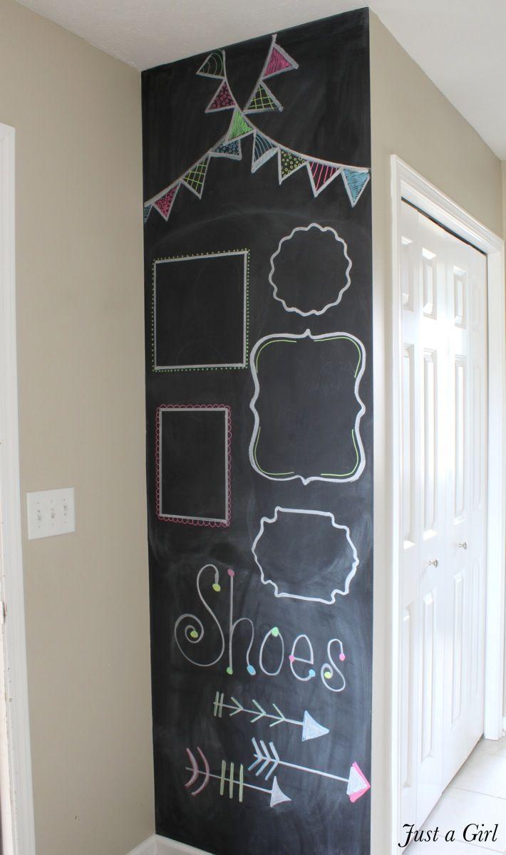 Diy chalkboard wall tutorial and beautiful decorating idea afterwards!