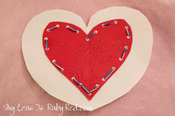 Stitched Heart Valentine Card - Preschool Activity to Promote Handwriting