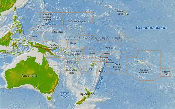 Ausztrália és Óceánia térkép