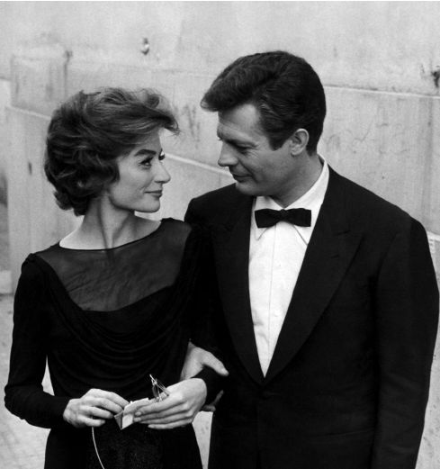 "Anouk Aimée and Marcello Mastroianni in ""La Dolce Vita"" directed by Federico Fellini, 1960."