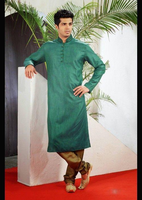 Party Wear Green Kurta Pajama In Dupion . Shop at - http://www.gravity-fashion.com/15763-party-wear-green-kurta-pajama-in-dupion.html