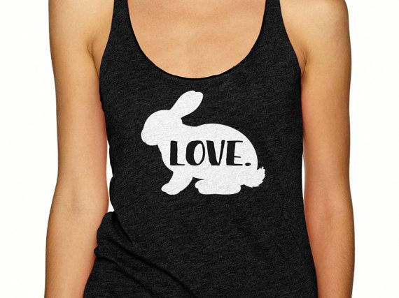 For all the rabbit lovers out there, this racerback tank shirt is for you! Shop my designs on Etsy (use coupon code pinterest10 for 10% off your order). #rabbitshirt #rabbitlover #bunnyshirt #bunny #rabbit