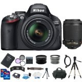 Nikon D5100 16.2MP CMOS Digital SLR Camera with 18-55mm f/3.5-5.6 AF-S DX VR Nikkor Zoom Lens + Nikon 55-200mm f/4-5.6G ED IF AF-S DX VR [Vibration Reduction] Nikkor Zoom Lens + Original Nikon EN-EL14 Lithium-Ion Battery + 3 Extra Lenses + 32GB SDHC Memory And More Complete Shooter Kit