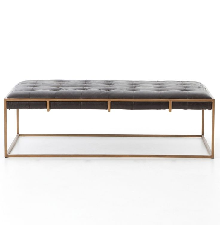 """Oxford Tufted Black Leather Ottoman Coffee Table 50"""" In"""