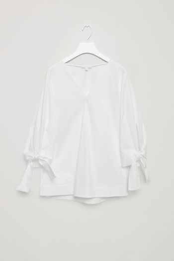 COS image 2 of A-line top with tied cuffs in White
