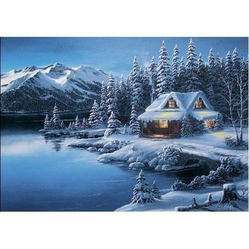 Geographic winter cabin scene christmas card health Christmas card scenes to paint