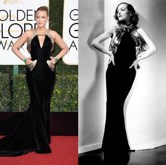 """Blake Lively (izda) posa en la edición de los #GlobosDeOro2017. A la derecha, la actriz Joan Crawford con un vestido que Adrian diseñó en 1934 para la película """"Así ama la mujer"""" (""""Sadie McKee"""")."""