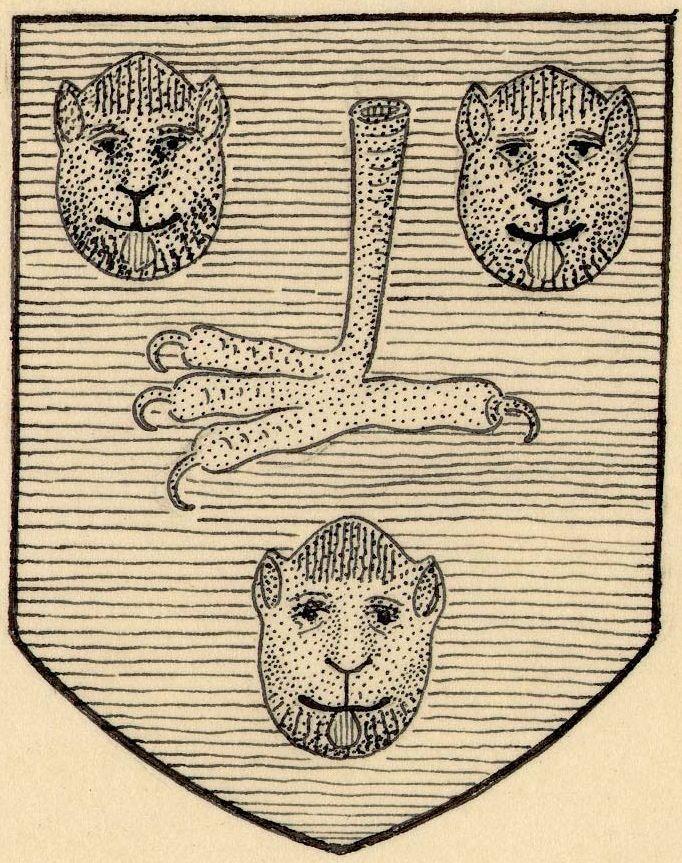 VIGILATE -- Dessin des armes de Richard Chambellan, abbé de St-Etienne de Dijon (1477-1495) (d'azur à une patte de griffon d'or, acc. de trois têtes de léopard du meme, lampassées de gueules). -- Paris, BNF, lat. 879, f°7, 24, 25v,...