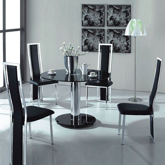 VO1 Black Glass Round Dining Table with Four Chairs -