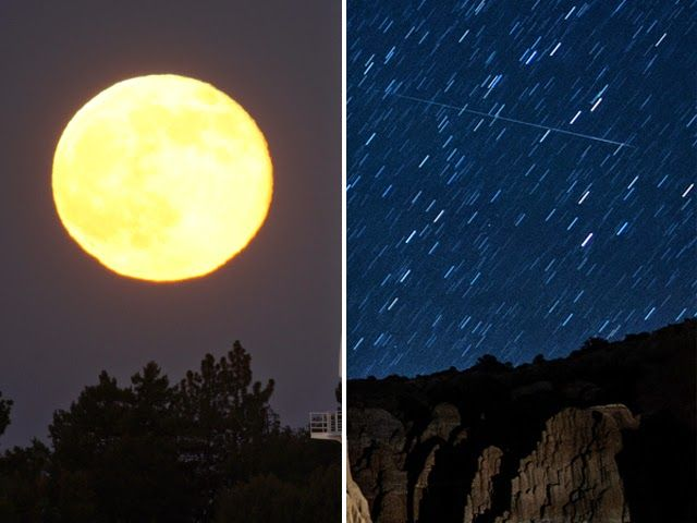 perseid meteor shower 2014 and super moon image HD