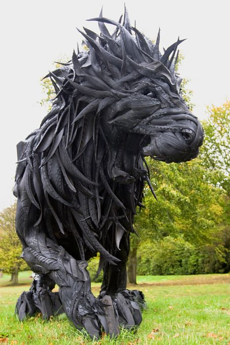 Lion, made of used tires and steel by Yong Ho Ji. As seen in the Beyond Limits Exhibition at Chatsworth House