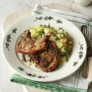 Rosemary and Garlic Lamb with crushed lemon potatoes #recipe
