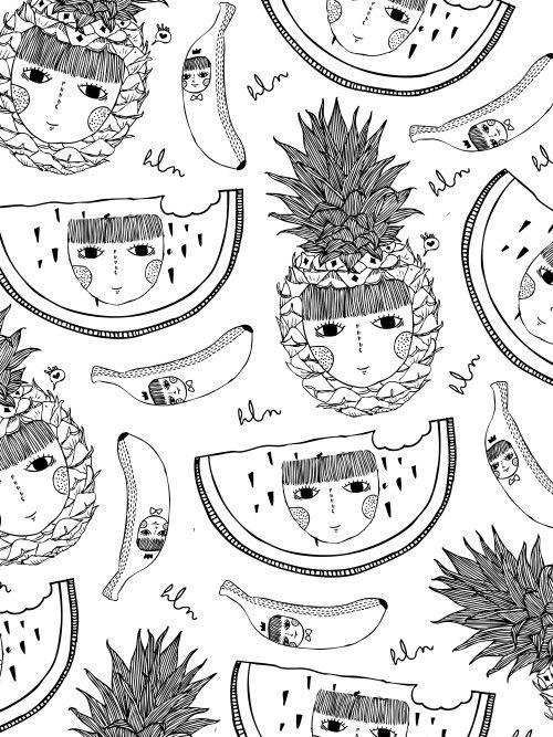 #Pattern #fruits #pineapple #watermelon #banana #art #doodle #illustrations by. Hellenapuspita