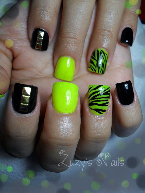 Neon zebra acrylic nails. Gold studs