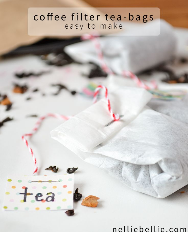 Make your own tea bags from coffee filters. Perfect for when you want to use loose-leaf. Or for gifting. #teabags #diy #gifts #tutorials | nelliebellie.com
