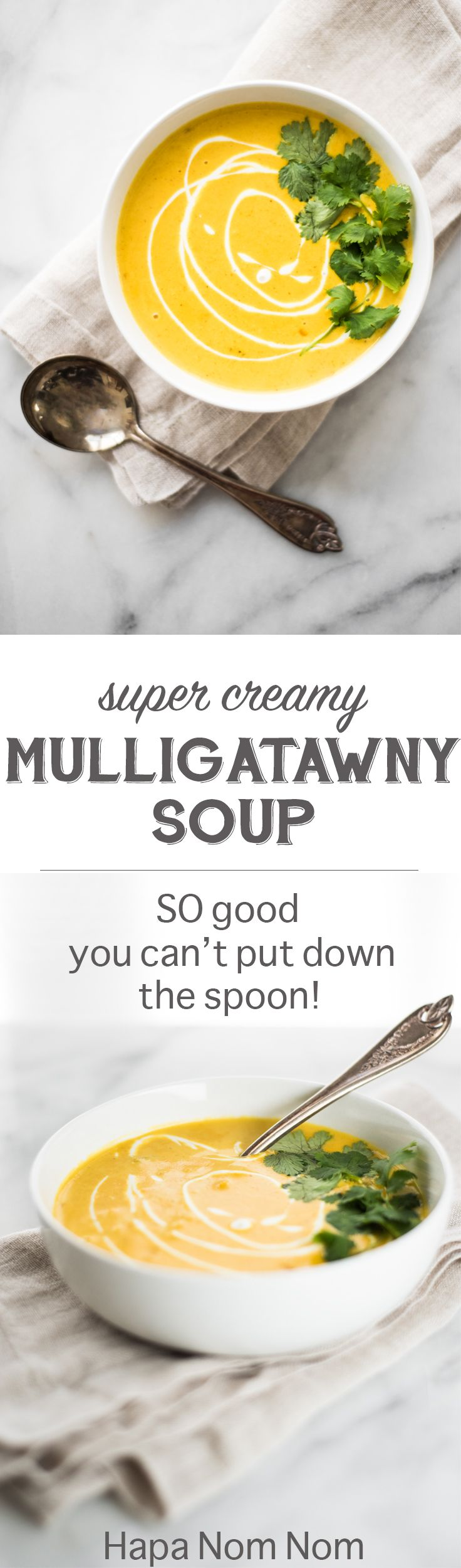 This Super Creamy Mulligatawny Soup is going to ROCK your world! It's so rich, so creamy, so good, that I was literally spooning molten hot soup into my mouth before it even had time to cool down!