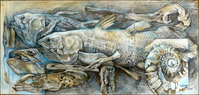 Old Fishes. Mixed Media on paper