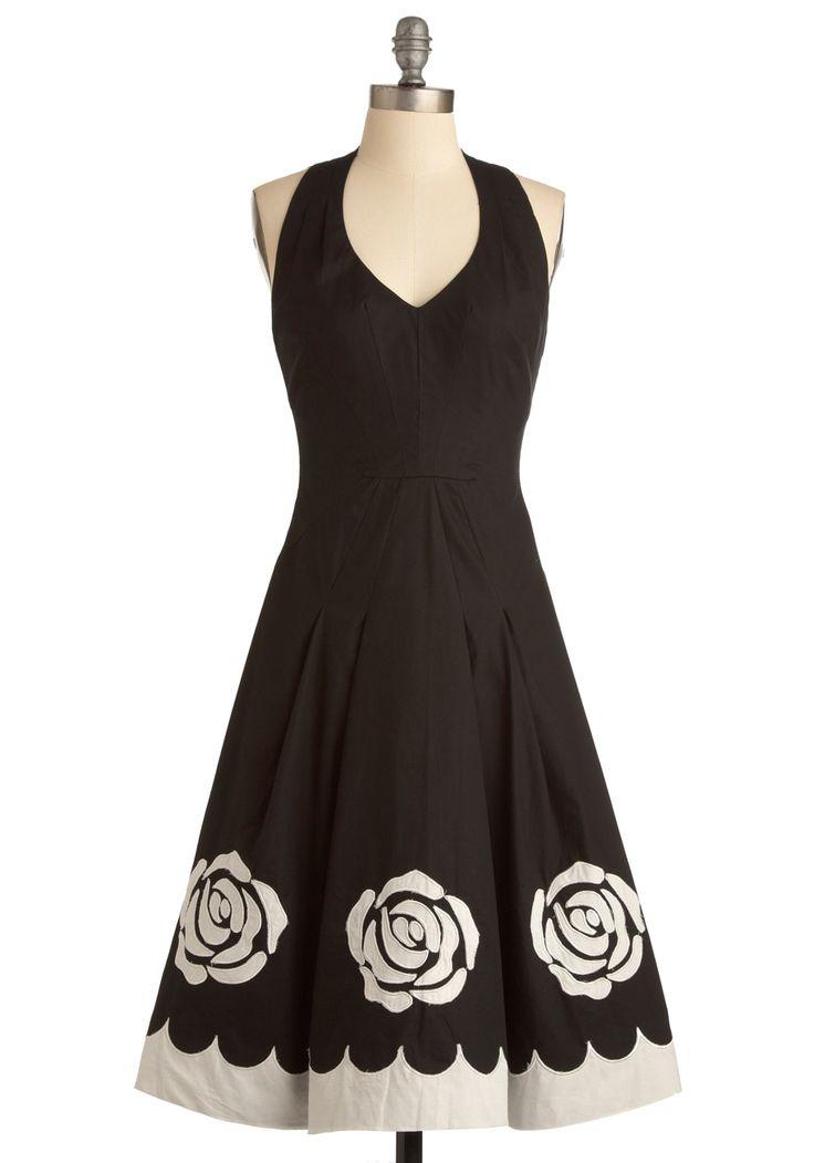 pretty!Pretty Dresses, Summer Dresses, White Roses, Fleur Better, Black And White, Black White, Retro Vintage Dresses, Worse Dresses, Little Black Dresses