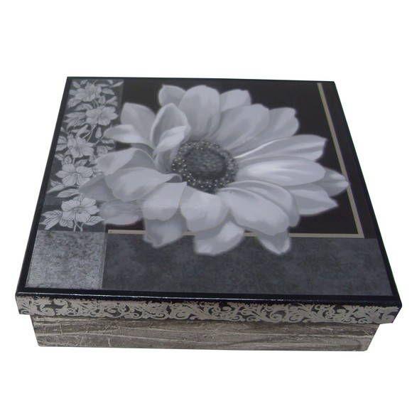 Porta jóias com 9 divisões feito em decoupage e efeito mármore.