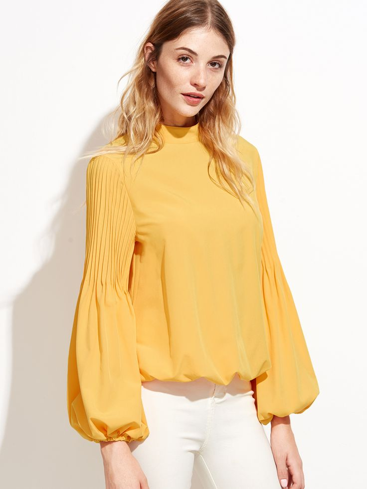 Yellow Keyhole Mock Neck Pleated Lantern Sleeve Blouse — 0.00 € -color: Yellow size: L,M,S,XS