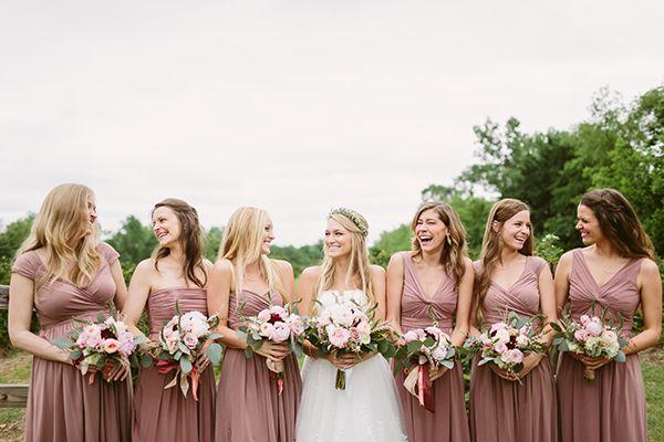 Blush and Neutral Wedding Ideas - southern-wedding-mauve-bridesmaid-dresses
