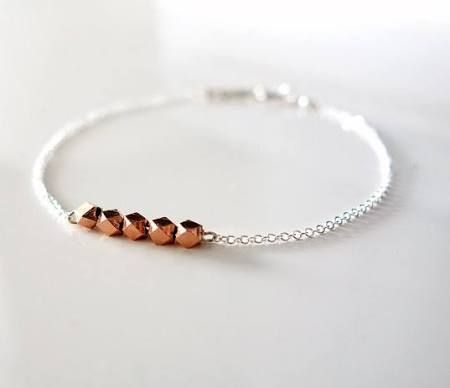 Kleine Rose Gold Bead Armband / zierliche Silber Armband / zarte dünne Armband