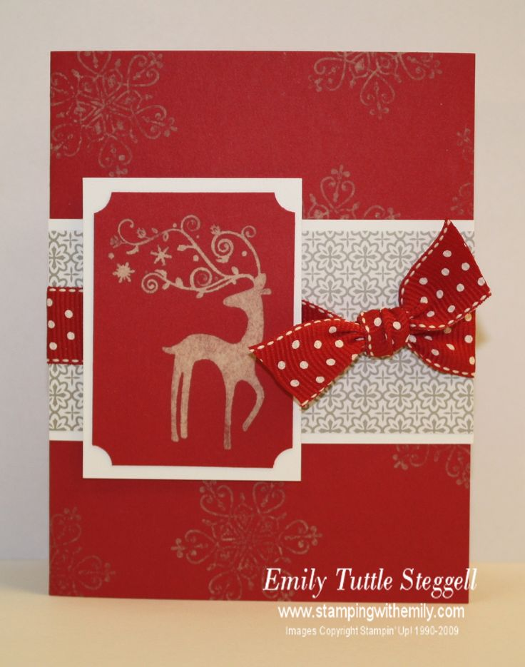 handmade christmas card red and white with bleach stamping like