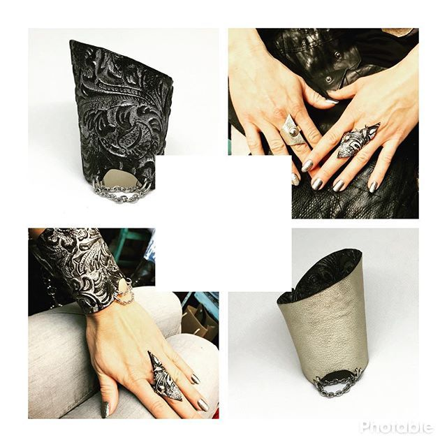 Blank space is blank so you can add your favorite quote Be the kind of woman that when your feet hit the floor each morning the devil says OH CRAP SHES UP!! Unique reversible leather &stainless steel bracelet with matching rings by #EvilEve #evilevedesign #leathercuff  #bracelet #ring #fashionistas #elegant #edgy