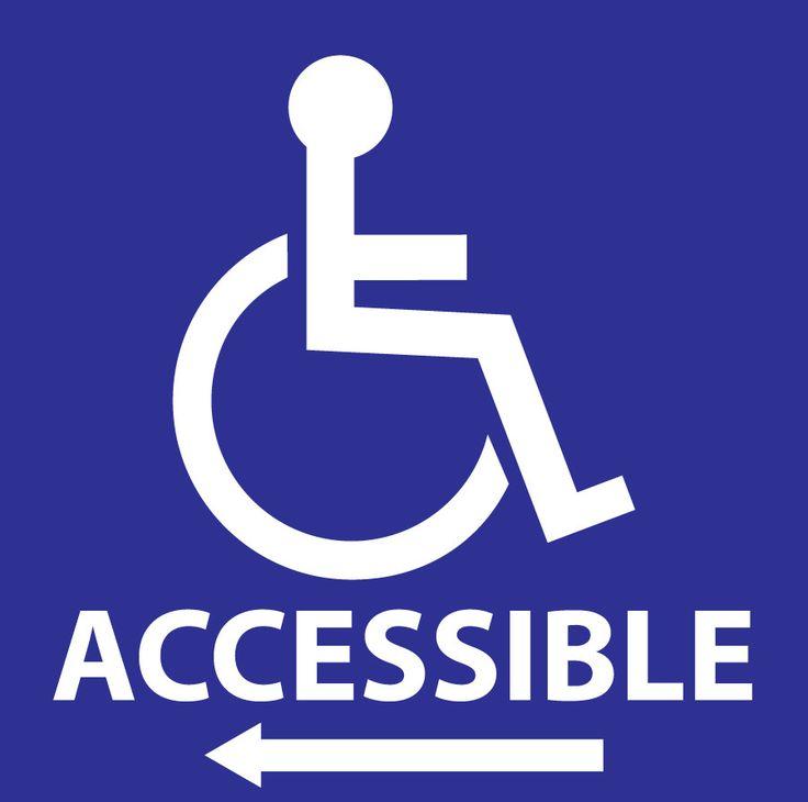 "Label, Handicap Accessible Left Arrow, 6""Hx6W"", Polystyrene, 2-Pk"